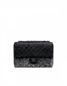 Chanel Black Embroidered Sequins Flap Bag