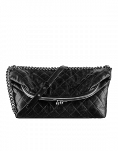 Chanel Black Flap with Tabatiere Clasp Large Bag