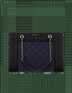 Chanel Black/Blue Grosgrain/Satin Mademoiselle Vintage Shopping Bag