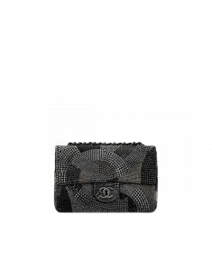 Chanel Black/Gold Geometric Pattern with Strass Flap Bag