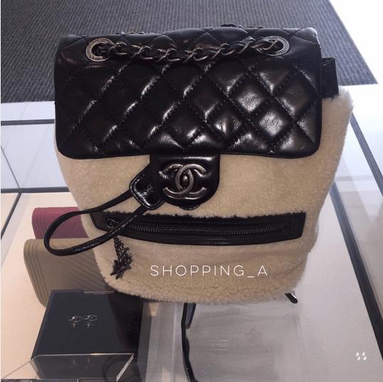 Chanel Black White Calfskin Shearling Backpack Mountain Small Bag 2. IG   shopping a e252515545f4b