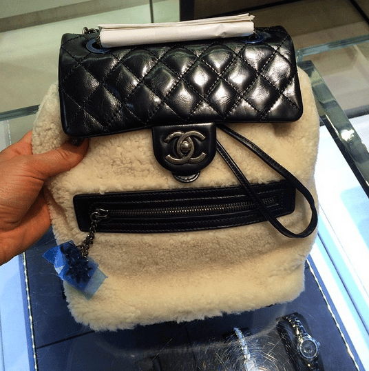 08454062b080 Chanel Black White Calfskin Shearling Backpack Mountain Small Bag Ig  Parisluxeonline