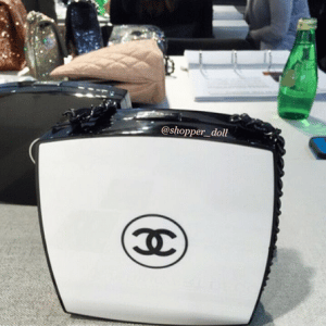 Chanel Black/White Compact Box Clutch Bag 5