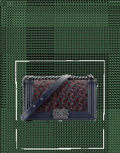 Chanel Blue/Burgundy Calfskin/Braided Fabric Boy Flap Old Medium Bag