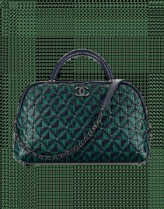 Chanel Blue/Green Calfskin/Braided Fabric Bowling Bag