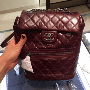 Chanel Burgundy Calfskin Backpack Mountain Small Bag
