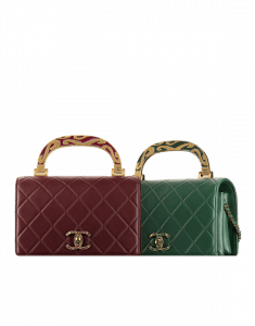 Chanel Burgundy/Green Art Nouvelle Small Flap Bags