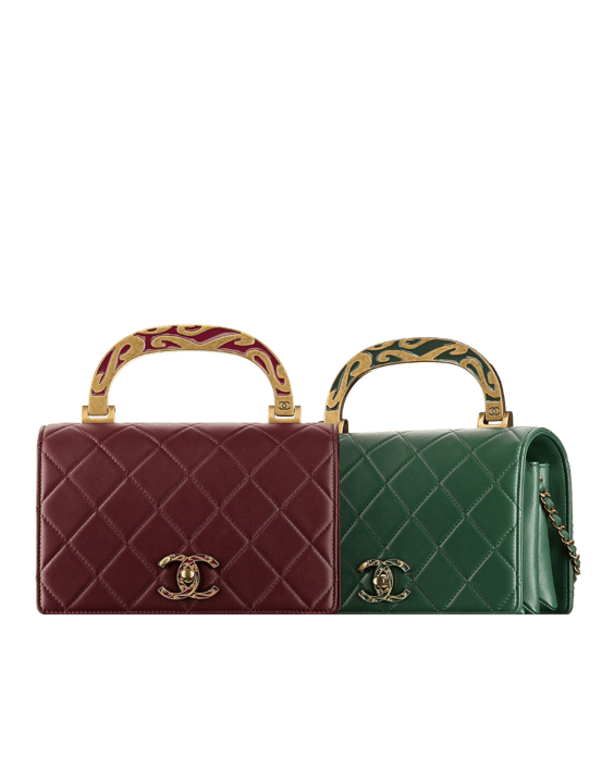 Chanel Burgundy Green Art Nouvelle Small Flap Bags