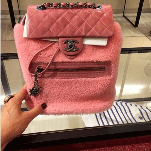 Chanel Pink Calfskin/Shearling Backpack Mountain Small Bag