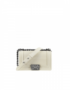 Chanel White Boy Flap with Horizontal Quilting Small Bag