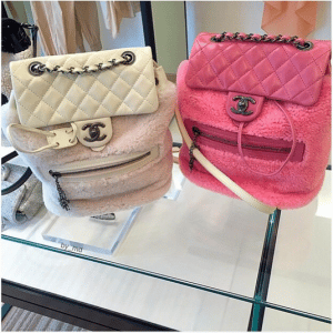 39efa0283d6d Chanel White and Pink Shearling Backpack Mountain Small Bags ...