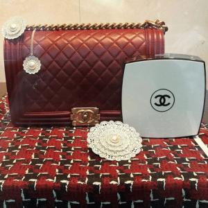 Chanel White/Black Compact Box Clutch Bag 2