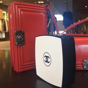 Chanel White/Black Compact Box Clutch Bag 3