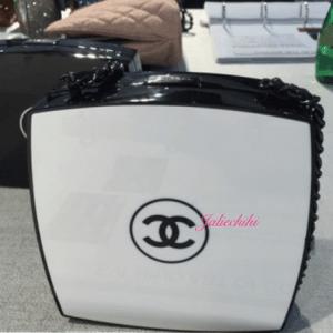 Chanel White/Black Compact Box Clutch Bag 4