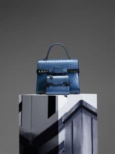 Delvaux Bleu De Prusse Ostrich Tempete GM and Calfskin Tempete Micro Bags