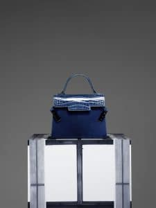 Delvaux Bleu de Prusse Calf Velours:Alligator Tempete MM Bag