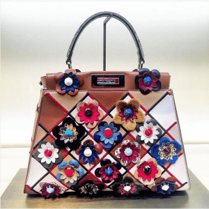 Fendi Beige/Brown/White Floral Embellished Python Peekaboo Bag