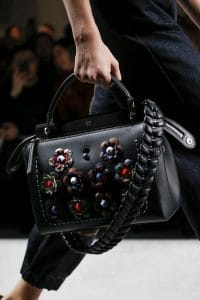 Fendi Black Floral Embellished Dot.Com Bag With Braided Strap You - Spring 2016