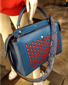 Fendi Blue/Red Dot Com Bag with Python Strap You