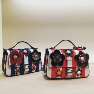 Fendi Blue/White and Red/White Python Double Baguette Mini Bags