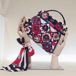ab9cf9e96821 Fendi Blue White Red Floral Embellished Python Peekaboo Bag. IG   fashioncanada