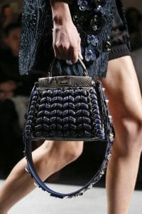 Fendi Gray/Blue Python Peekaboo Bag With Floral Embellished Strap You - Spring 2016