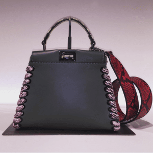Fendi Grey Leather/Python Interlaced Peekaboo Bags