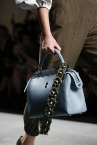Fendi Light Blue Dot.Com Bag With Olive Green Floral Embellished Strap You - Spring 2016