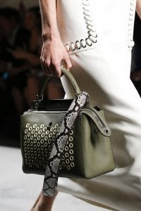 Fendi Olive Green Dot.Com Bag With Python Strap You - Spring 2016