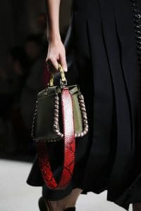 Fendi Olive Green Peekaboo Bag With Red Python Strap You 2 - Spring 2016