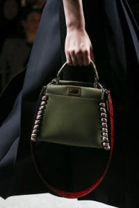 Fendi Olive Green Peekaboo Bag With Red Python Strap You - Spring 2016