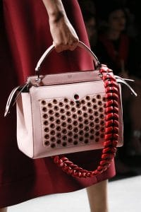 Fendi Pink/Red Dot.Com Bag With Red Braided Strap You - Spring 2016