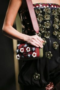 Fendi Red/Olive Green Floral Embellished Baguette Bag With Strap You - Spring 2016