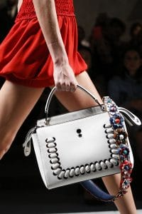 Fendi White Dot.Com Bag With Floral Strap You - Spring 2016