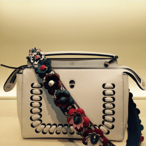 Fendi White Interlaced Dot Com Bag with Floral Embellished Strap You