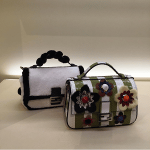 Fendi White/Black Mink and Green/White Python Double Baguette Mini Bags