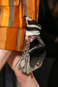 Prada Beige/Black Python/Crocodile Flap Bag - Spring 2016