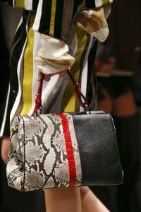 Prada Beige/Black/Red Python/Crocodile Top Handle Bag - Spring 2016