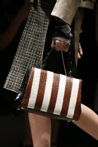 Prada Brown/White/Black Crocodile Top Handle Bag - Spring 2016