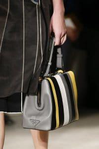 Prada Gray/Black/Yellow/White Striped Top Handle Bag - Spring 2016