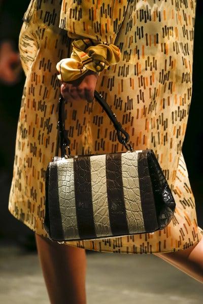 7d761ae475ca Prada White/Black/Brown Crocodile Striped Top Handle Bag 2 - Spring 2016
