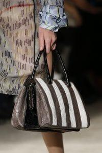 Prada White/Black/Brown Crocodile Striped Top Handle Bag - Spring 2016