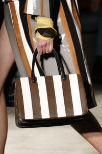 Prada White/Black/Brown Striped Top Handle Bag - Spring 2016