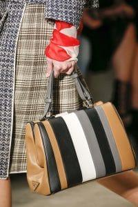 Prada White/Black/Gray/Tan Striped Top Handle Bag - Spring 2016
