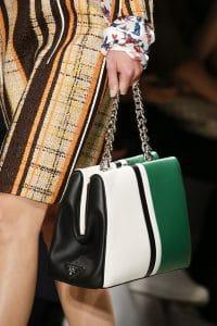 Prada White/Black/Green Top Handle Bag - Spring 2016