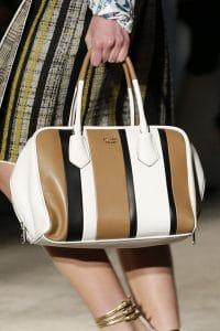 Prada White/Black/Tan Striped Inside Tote Bag - Spring 2016