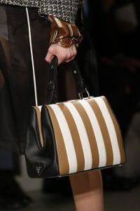 Prada White/Black/Tan Striped Top Handle Bag 2 - Spring 2016