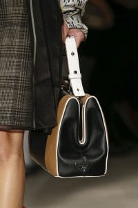 Prada White/Black/Tan Striped Top Handle Bag 3 - Spring 2016