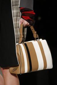 Prada White/Black/Tan Striped Top Handle Bag - Spring 2016