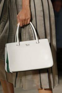 Prada White/Green Top Handle Bag - Spring 2016